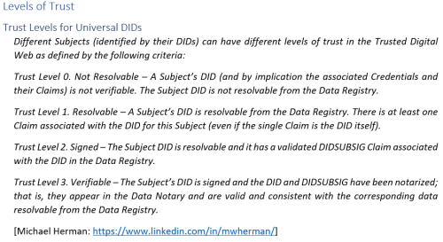 Levels of Trust-Universal DIDs